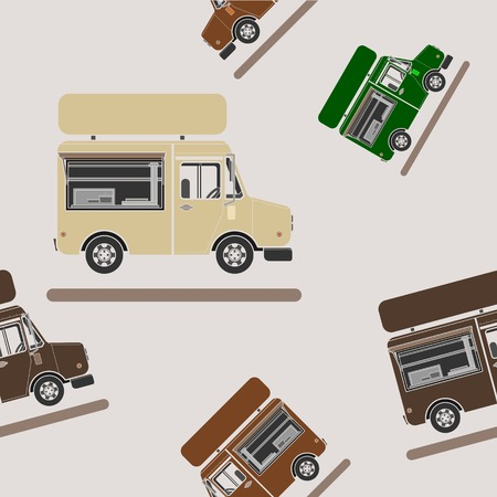 Editable Side View Mobile Food Truck Vector Illustration Seamless Pattern in Flat Style Иллюстрация