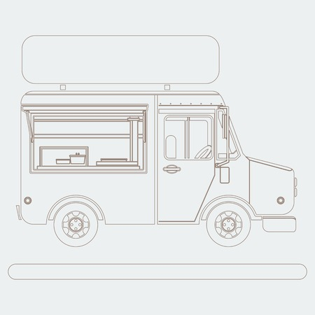 Editable Side View Mobile Food Truck Vector Illustration with Sign Board in Outline Style Иллюстрация