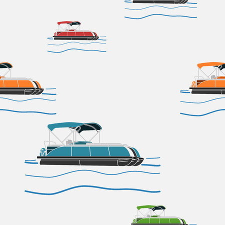 Editable Various Color Pontoon Boat Vector Illustration Seamless Pattern