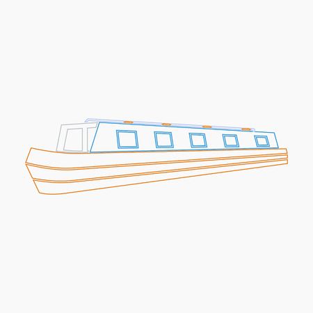 Editable Narrow Boat Vector Illustration in Outline Style Illustration