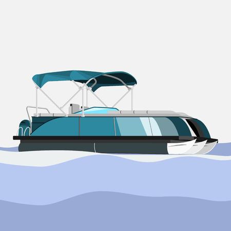 Bateau ponton modifiable et détaillé sur l'illustration vectorielle de l'eau ondulée