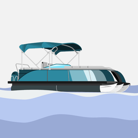 Editable and Detailed Side View Pontoon Boat on Wavy Water Vector Illustration