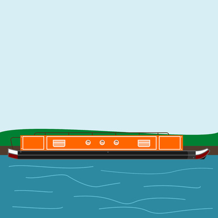 Editable Side View Narrow Boat at The Bank of The River Vector Illustration in Flat Style
