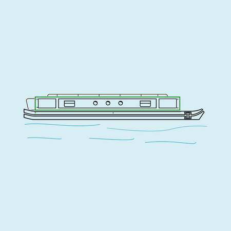 Editable Side View Narrow Boat Vector Illustration in Outline Style Иллюстрация