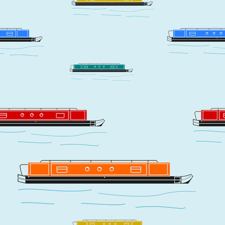 Editable Flat Style Narrow Boat Vector Illustration Seamless Pattern Illustration