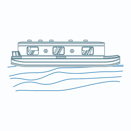 Editable Side View Floating Canal Boat on Wavy Water Vector Illustration in Outline Style