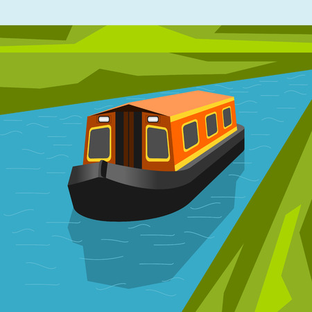 Editable Canal Boat at The River Vector Illustration Stock Illustratie