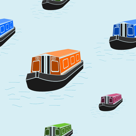 Editable Flat Style Canal Boat Vector Illustration Seamless Pattern Иллюстрация