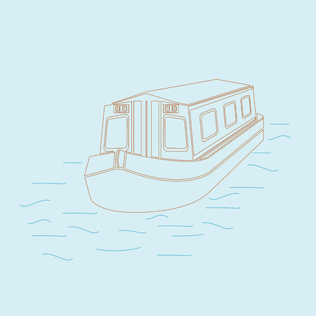 Editable Floating Canal Boat on Wavy Water Vector Illustration in Outline Style