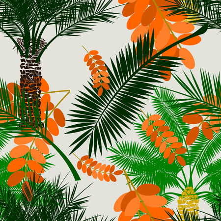 Editable Date Palm Tree with Fruit and Leaves Vector Illustration Seamless Pattern