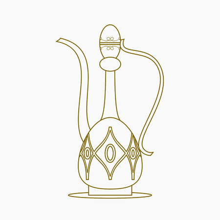 Editable Isolated on White Background Arabian Coffee Jug Vector Illustration in Outline Style