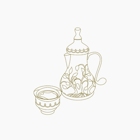 Editable Isolated on White Background Arabian Coffee Pot and Cup Vector Illustration in Outline Style