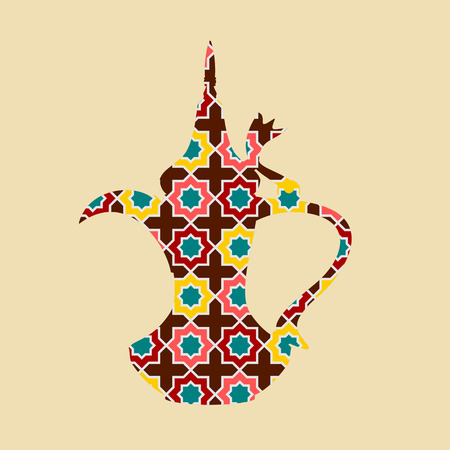 Editable Side View Mosaic Patterned Dallah Arabian Coffee Pitcher Vector Illustration Иллюстрация