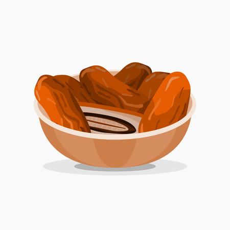 Editable Date Palm Fruits on a Bowl Vector Illustration
