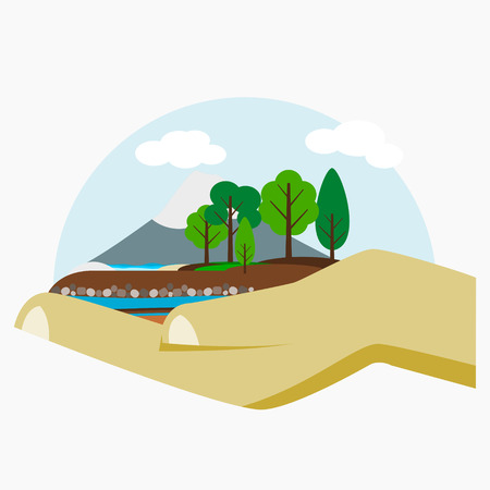 Editable Hand Holding Environment Landscape Vector Illustration for Ecology Poster Иллюстрация