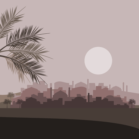 Editable Islamic Arabian City Silhouette Vector Illustration with Date Palm Trees in Dark Color