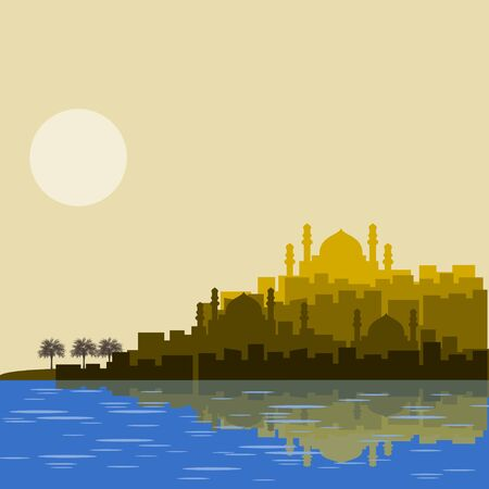 Editable Islamic Arabian City Silhouette Vector Illustration with Date Palm Trees and Lake or Sea