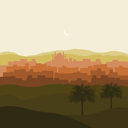 Editable Islamic Arabian City Silhouette Vector Illustration with Date Palm Trees and Desert Иллюстрация