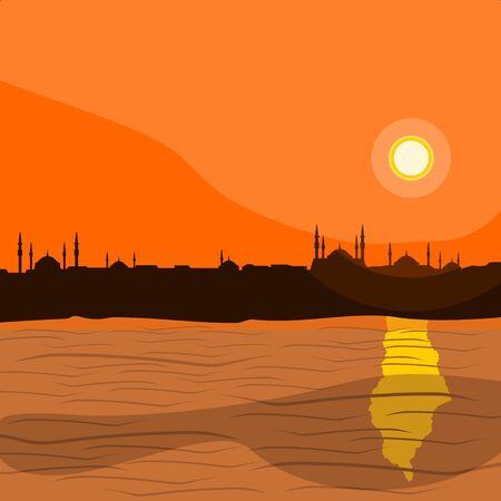 Illustration vectorielle de la silhouette de la ville d'Istanbul islamique modifiable avec la mer de Marmara Vecteurs