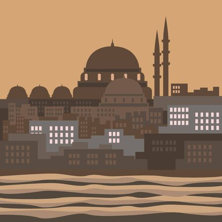 Editable Islamic Istanbul City Vector Illustration with Marmara Sea in Flat Style