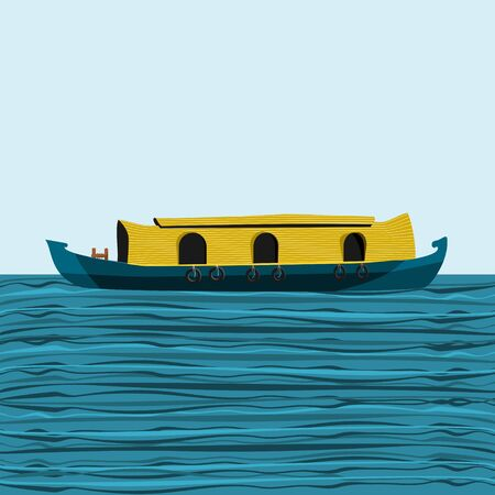 Editable Side View Indian Kerala Houseboat Backwater on Wavy Lake Vector Illustration Иллюстрация