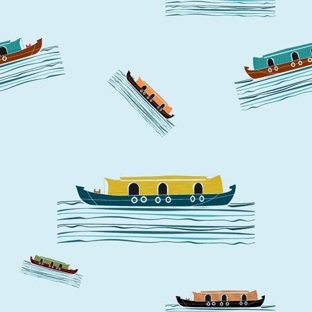 Editable Indian Kerala Houseboat Vector Illustration Seamless Pattern