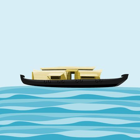 Editable Vector Illustration of Indian Kerala Houseboat Backwater on Wavy Lake Иллюстрация