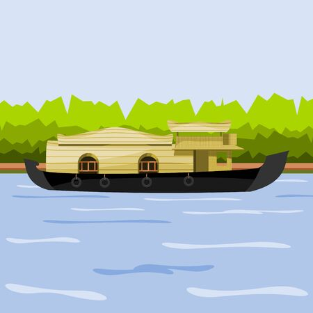 Editable Indian Kerala Houseboat Backwater Vector Illustration at Coast of Lake