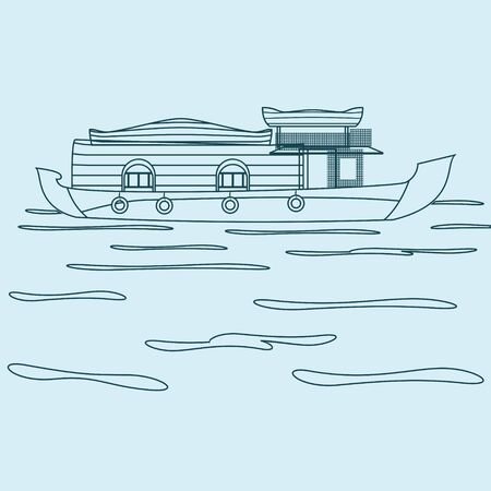 Editable Indian Kerala Houseboat Backwater Vector Illustration in Outline Style