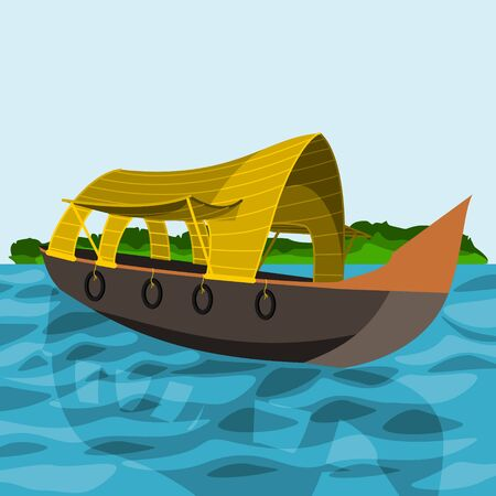 Editable Indian Kerala Houseboat Backwater Vector Illustration with Green Bush Иллюстрация