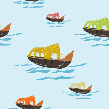Editable Indan Kerala Houseboat Backwater Seamless Pattern Иллюстрация
