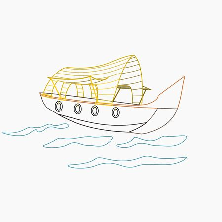 Editable Indian Kerala Houseboat Backwater in Outline Style Vector Illustration
