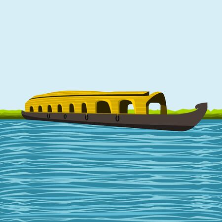 Editable Indian Kerala Houseboat Backwater Vector Illustration with Wavy Lake