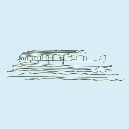Editable Outline Style Indian Kerala Houseboat Backwater Vector Illustration Иллюстрация