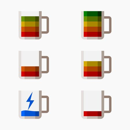 Editable Coffee Mug Displayed as Battery Icons Set Vector Illustration for Energy Recharging Concept
