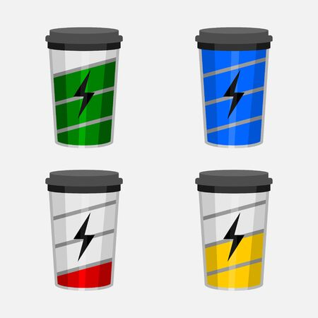 Editable Coffee Cups Displayed as Battery Icons Set Vector Illustration for Energy Recharging Concept