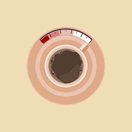 Editable Top View Coffee Cup Vector Illustration as Fuel Level for Recharging Strength Concept Иллюстрация