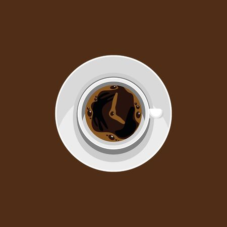 Editable Top View Vector Illustration of Coffee as Clock Symbol