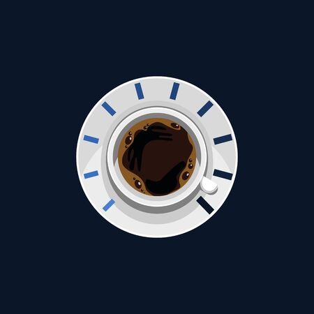 Editable Top View Coffee Cup and Saucer Vector Illustration as Speedometer for Strength Concept
