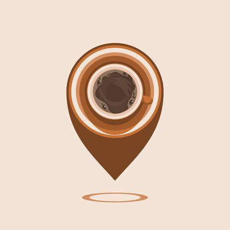 Editable Top View Coffee Vector Illustration as Location Pointer