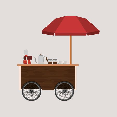 Editable Simple Wooden Mobile Coffee Cart Vector Illustration