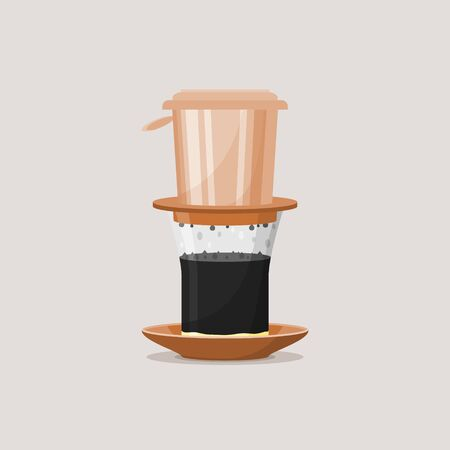 Editable Isolated Vietnamese Drip Coffee Vector Illustration