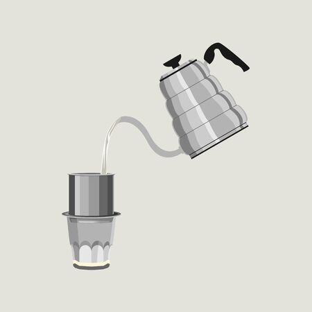 Editable Isolated of Pouring Hot Water from Goose neck Kettle to Brew Coffee in Vietnamese Style