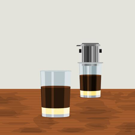 Editable Vietnamese Drip Coffee with Two Glass Mugs on Wooden Table Vector Illustration