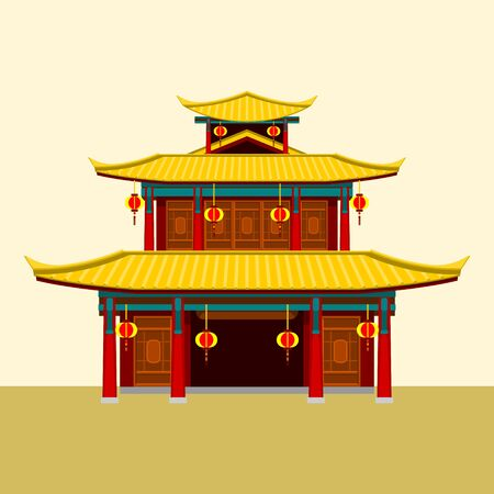 Editable Traditional Chinese Building Vector Illustration