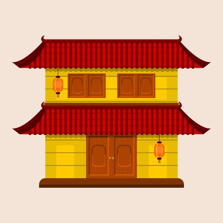 Editable Traditional Chinese House with Two Level Roof and Hanging Lantern Vector Illustration 向量圖像