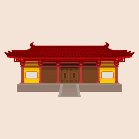 Editable Wide Traditional Chinese House Vector Illustration