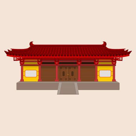 Ilustración de vector de casa china tradicional amplia editable