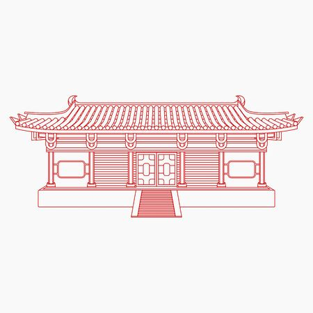 Editable Traditional Chinese Building Vector Illustration in Outline Style