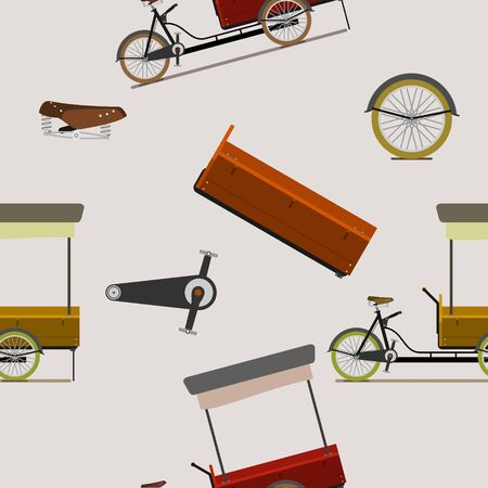 Editable Mobile Food Bike Shop Vector Illustration Seamless Pattern 向量圖像